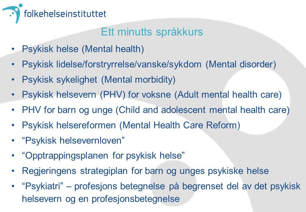Ett minutts språkkurs Psykisk helse (Mental health)