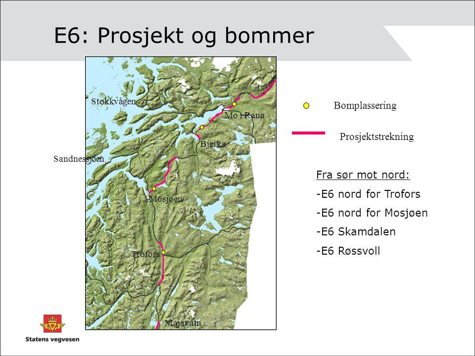 E6: Prosjekt og bommer Bomplassering Prosjektstrekning