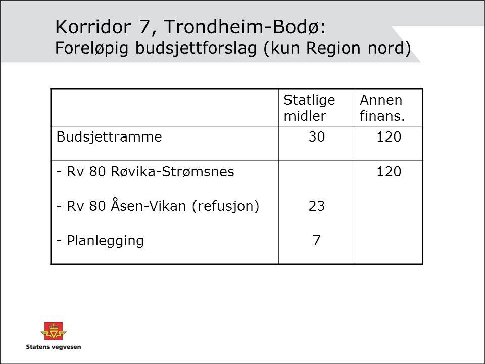 Korridor 7, Trondheim-Bodø: Foreløpig budsjettforslag (kun Region nord)