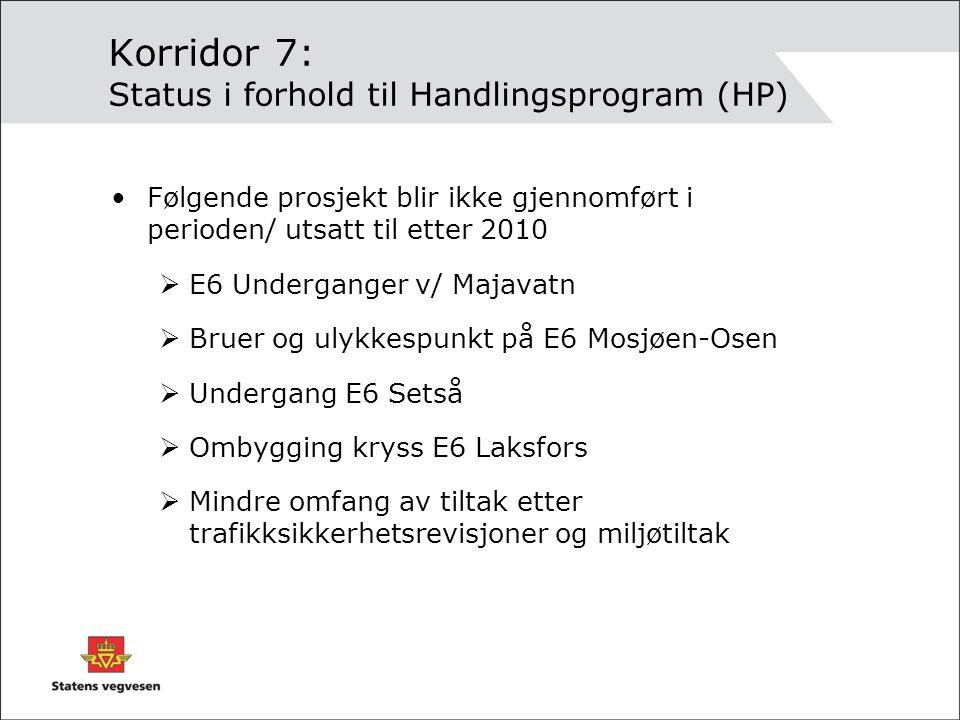 Korridor 7: Status i forhold til Handlingsprogram (HP)