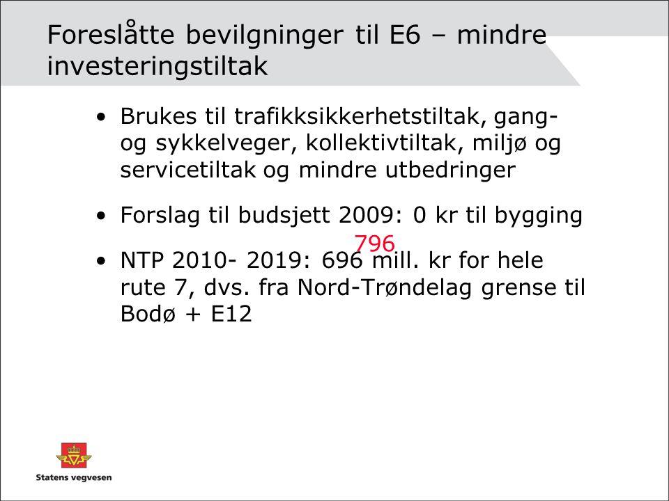 Foreslåtte bevilgninger til E6 – mindre investeringstiltak