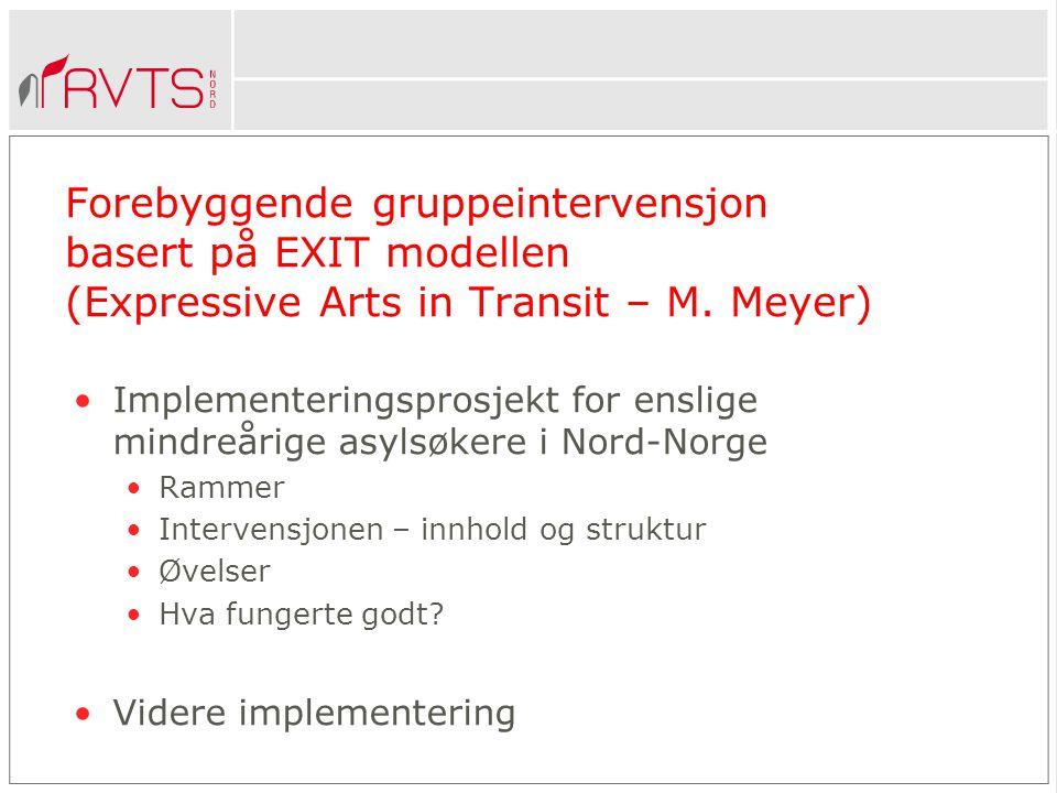 Forebyggende gruppeintervensjon basert på EXIT modellen (Expressive Arts in Transit – M. Meyer)