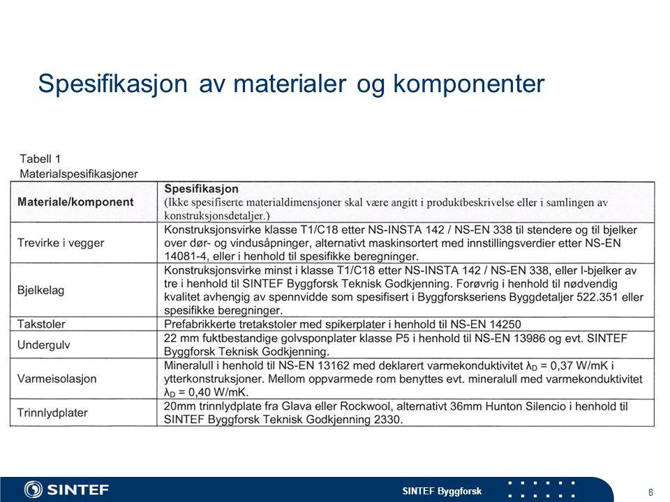 Spesifikasjon av materialer og komponenter