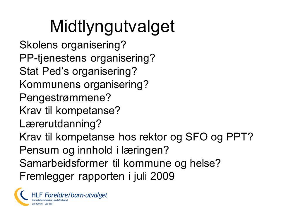 Midtlyngutvalget Skolens organisering PP-tjenestens organisering