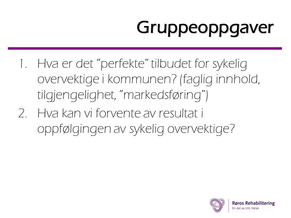 Gruppeoppgaver Hva er det perfekte tilbudet for sykelig overvektige i kommunen (faglig innhold, tilgjengelighet, markedsføring )