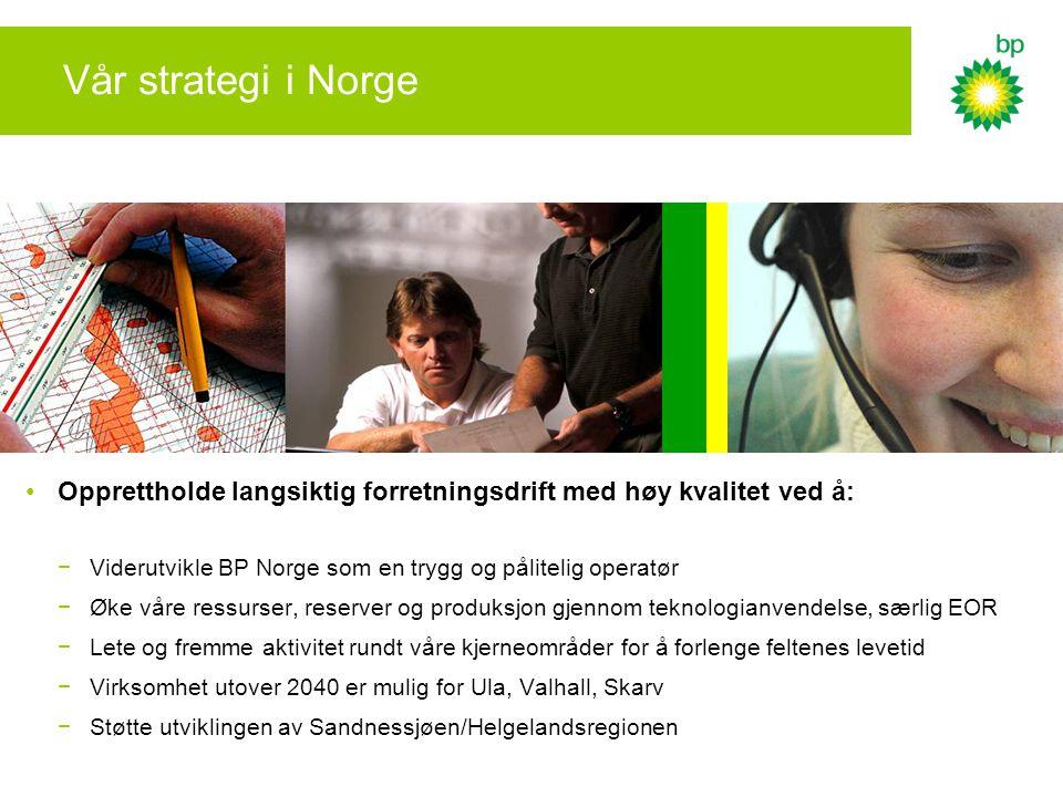 Vår strategi i Norge Opprettholde langsiktig forretningsdrift med høy kvalitet ved å: Viderutvikle BP Norge som en trygg og pålitelig operatør.