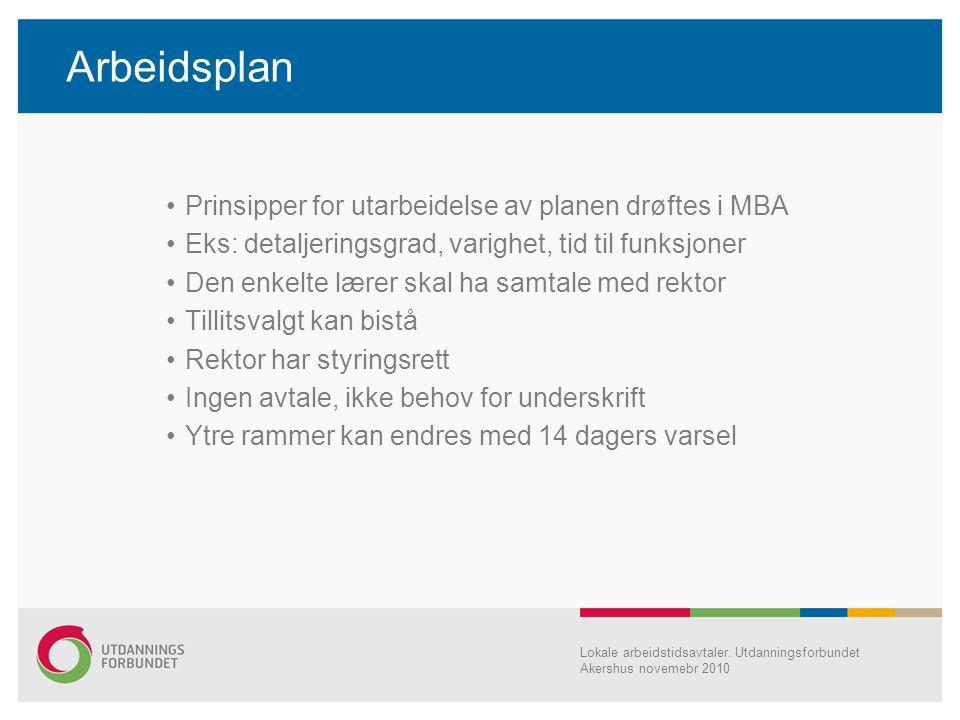 Arbeidsplan Prinsipper for utarbeidelse av planen drøftes i MBA