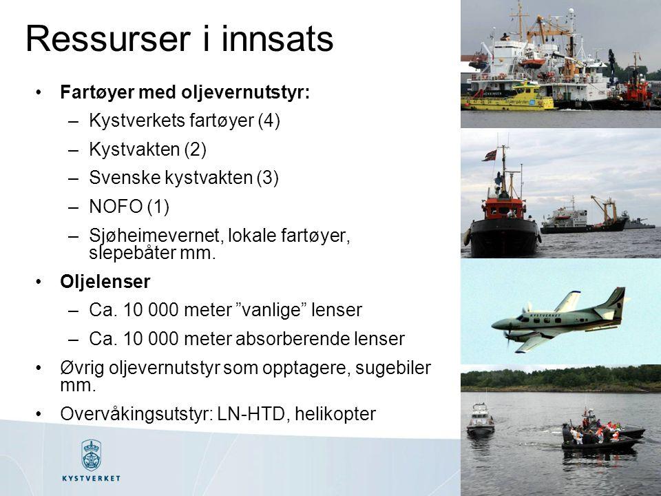 Ressurser i innsats Fartøyer med oljevernutstyr: