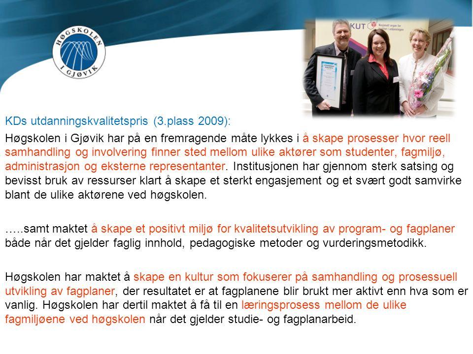 KDs utdanningskvalitetspris (3.plass 2009):