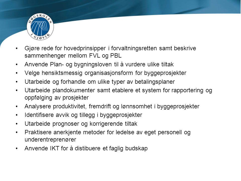 Gjøre rede for hovedprinsipper i forvaltningsretten samt beskrive sammenhenger mellom FVL og PBL