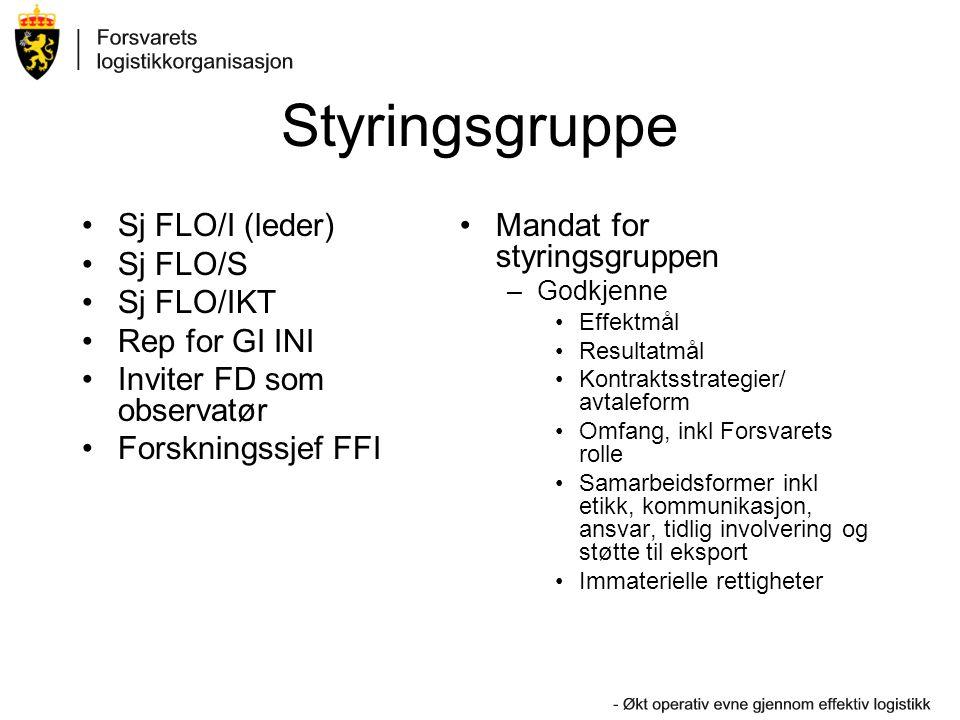 Styringsgruppe Sj FLO/I (leder) Sj FLO/S Sj FLO/IKT Rep for GI INI