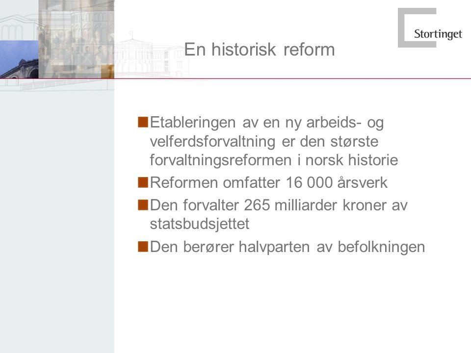 En historisk reform Etableringen av en ny arbeids- og velferdsforvaltning er den største forvaltningsreformen i norsk historie.