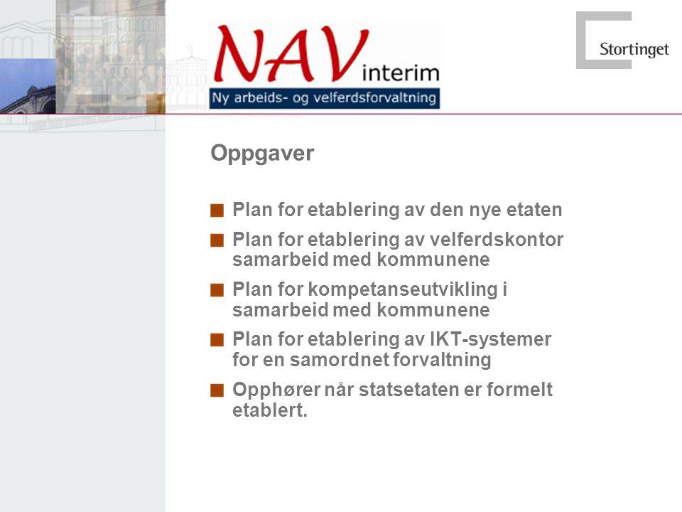 Oppgaver Plan for etablering av den nye etaten