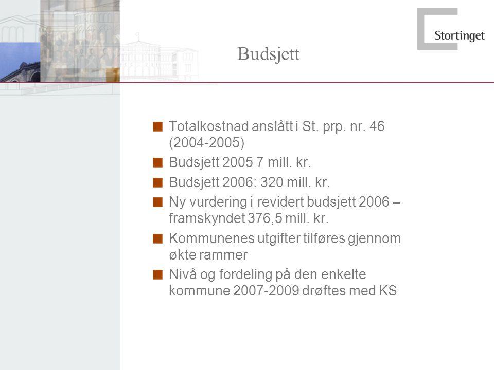 Budsjett Totalkostnad anslått i St. prp. nr. 46 (2004-2005)