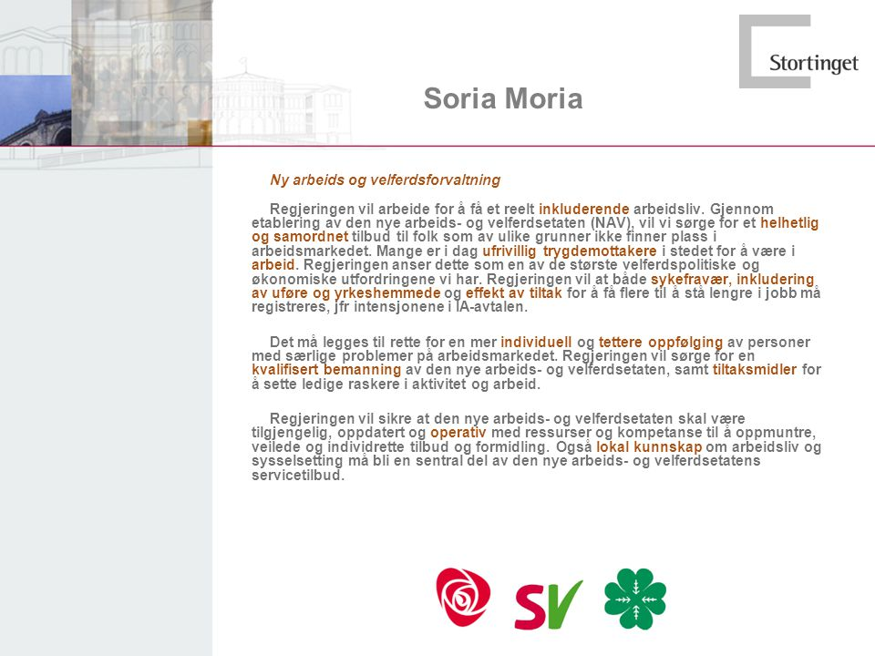 Soria Moria Ny arbeids og velferdsforvaltning