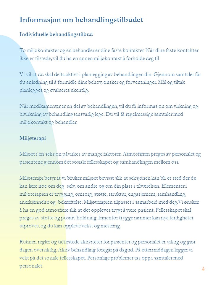 Informasjon om behandlingstilbudet