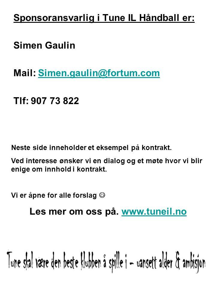 Les mer om oss på. www.tuneil.no
