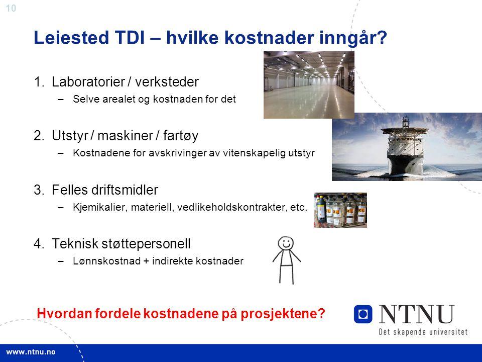 Leiested TDI – hvilke kostnader inngår