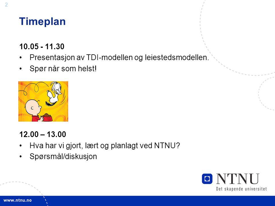 Timeplan 10.05 - 11.30. Presentasjon av TDI-modellen og leiestedsmodellen. Spør når som helst! 12.00 – 13.00.