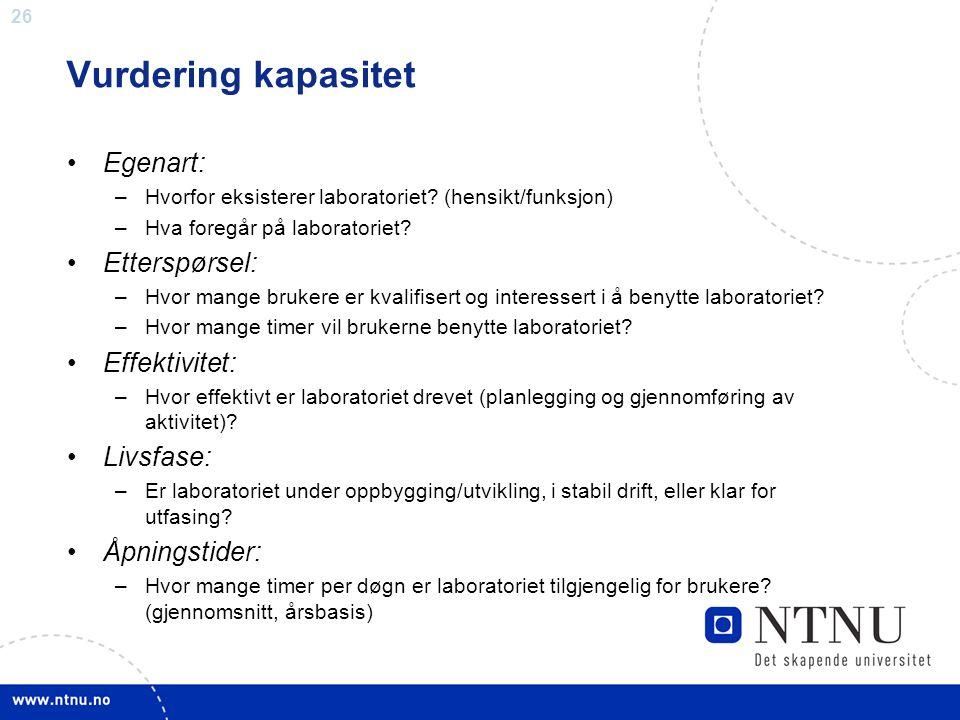 Vurdering kapasitet Egenart: Etterspørsel: Effektivitet: Livsfase: