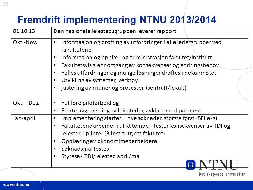 Fremdrift implementering NTNU 2013/2014