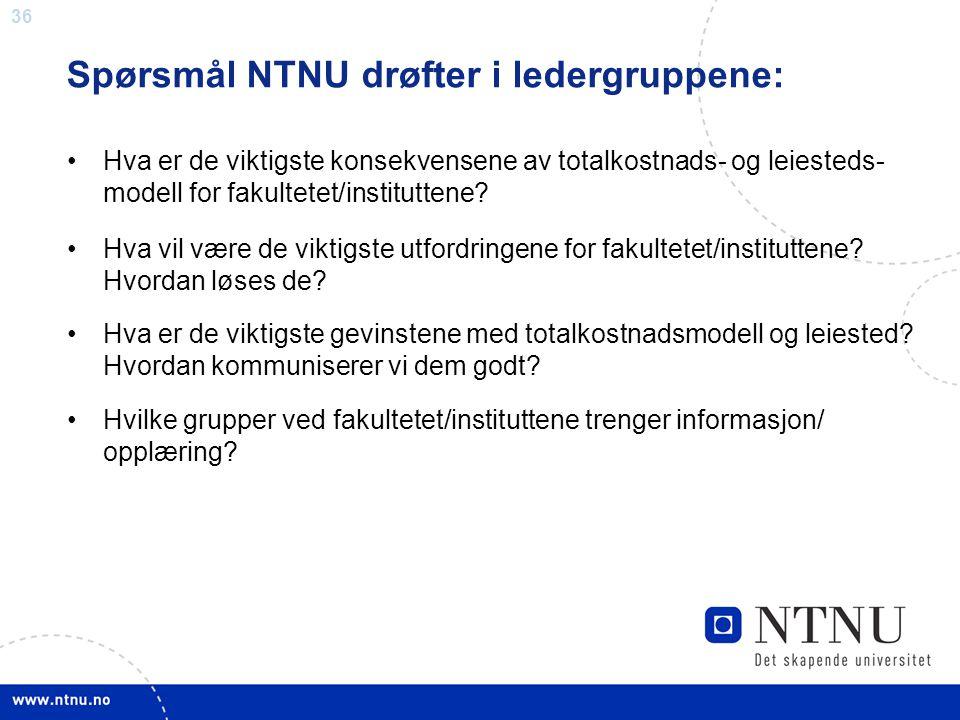Spørsmål NTNU drøfter i ledergruppene: