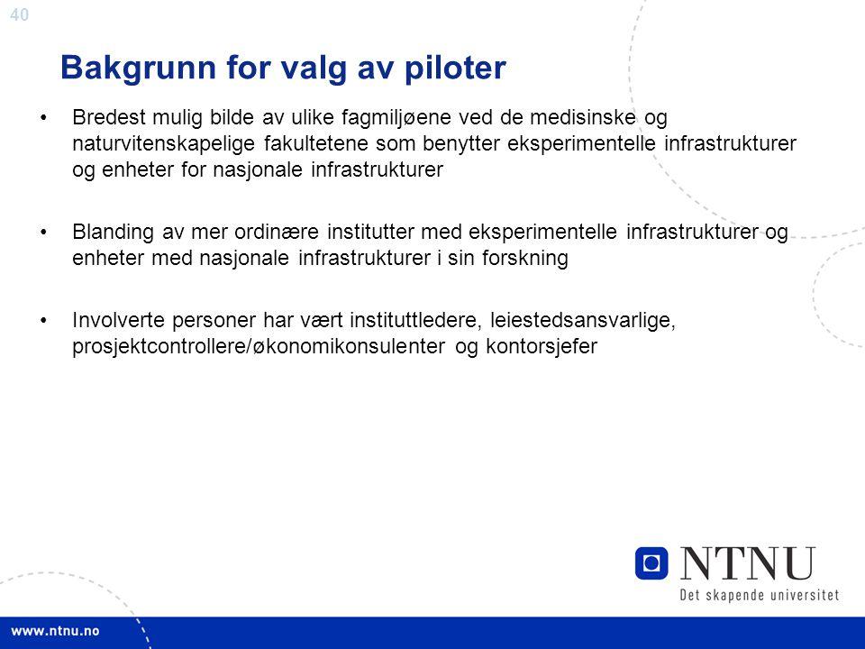 Bakgrunn for valg av piloter
