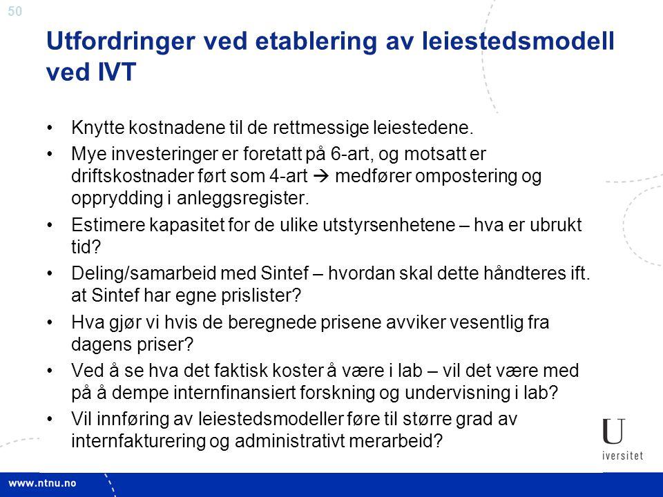 Utfordringer ved etablering av leiestedsmodell ved IVT