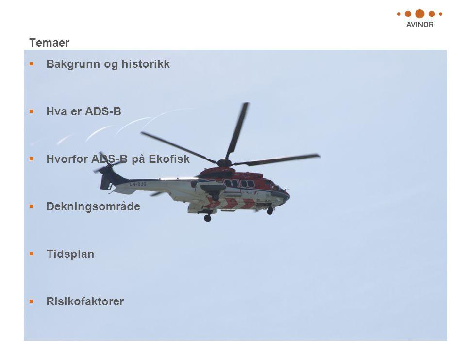 Temaer Bakgrunn og historikk. Hva er ADS-B. Hvorfor ADS-B på Ekofisk. Dekningsområde. Tidsplan.