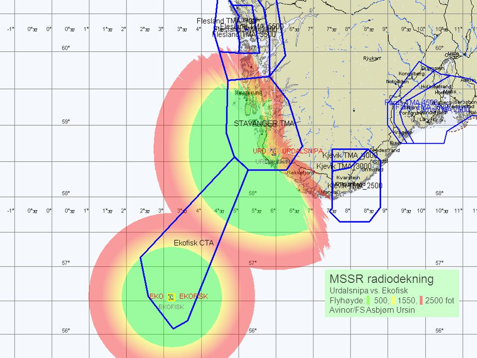 MSSR radiodekning Urdalsnipa vs. Ekofisk