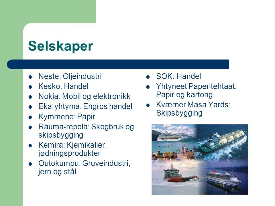 Selskaper Neste: Oljeindustri Kesko: Handel