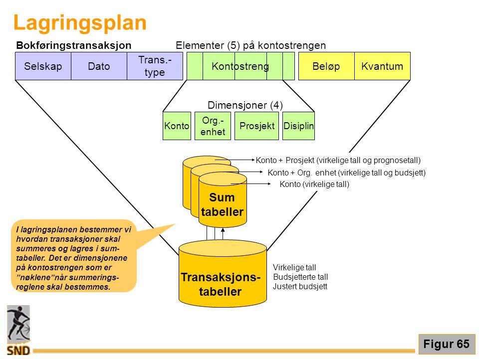 Lagringsplan Sum tabeller Transaksjons- Figur 65 Selskap Dato Trans.-