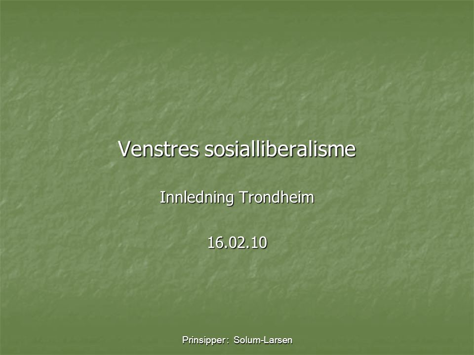 Venstres sosialliberalisme