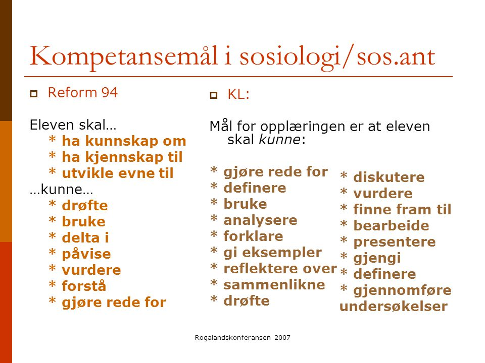 Kompetansemål i sosiologi/sos.ant