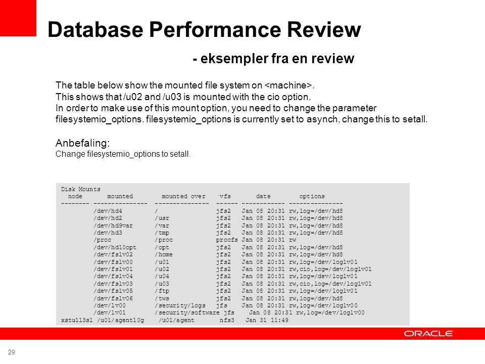 Database Performance Review - eksempler fra en review
