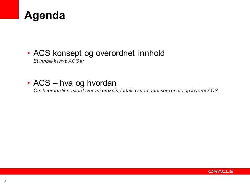 Agenda ACS konsept og overordnet innhold Et innblikk i hva ACS er