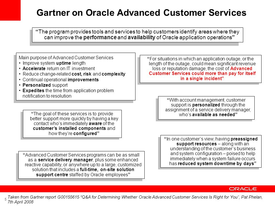 Gartner on Oracle Advanced Customer Services