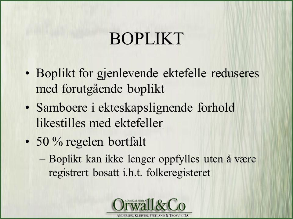 BOPLIKT Boplikt for gjenlevende ektefelle reduseres med forutgående boplikt. Samboere i ekteskapslignende forhold likestilles med ektefeller.