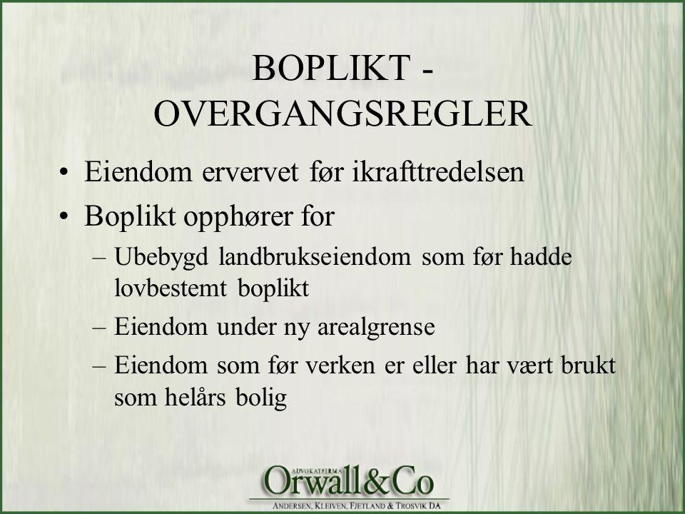 BOPLIKT - OVERGANGSREGLER
