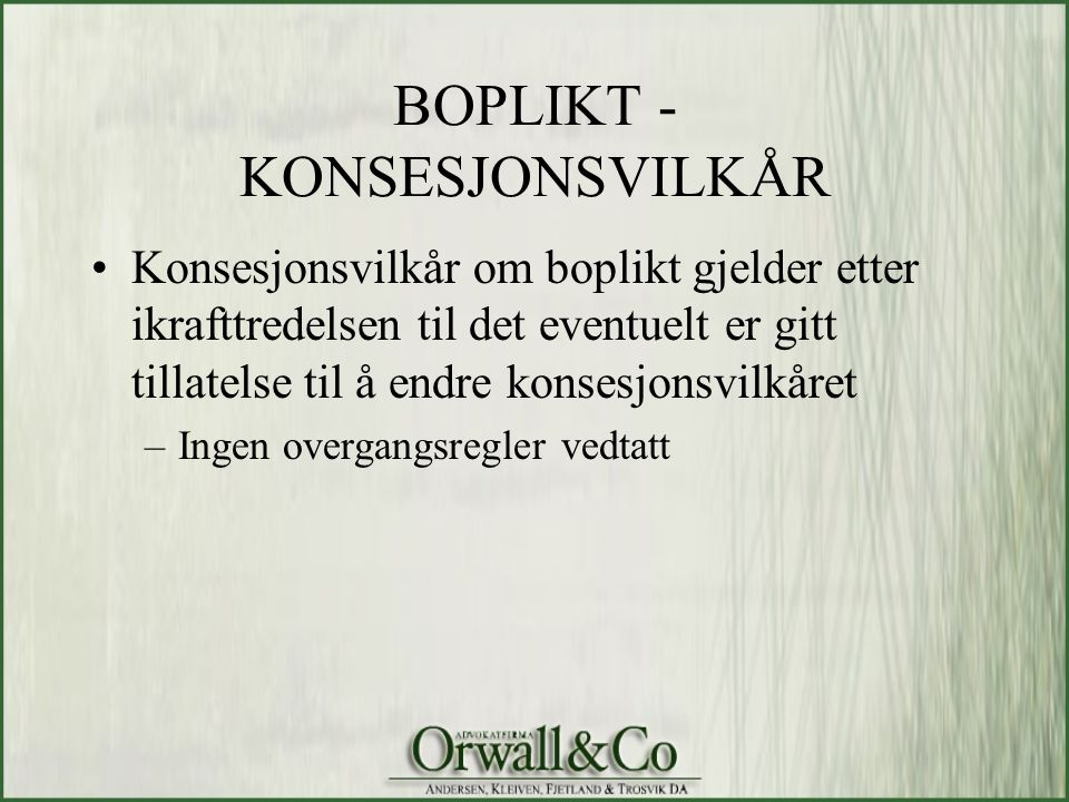 BOPLIKT - KONSESJONSVILKÅR