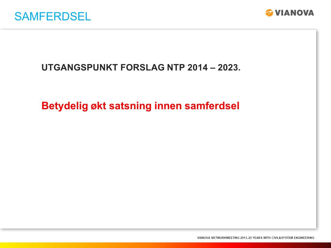 SAMFERDSEL UTGANGSPUNKT FORSLAG NTP 2014 – 2023. Betydelig økt satsning innen samferdsel
