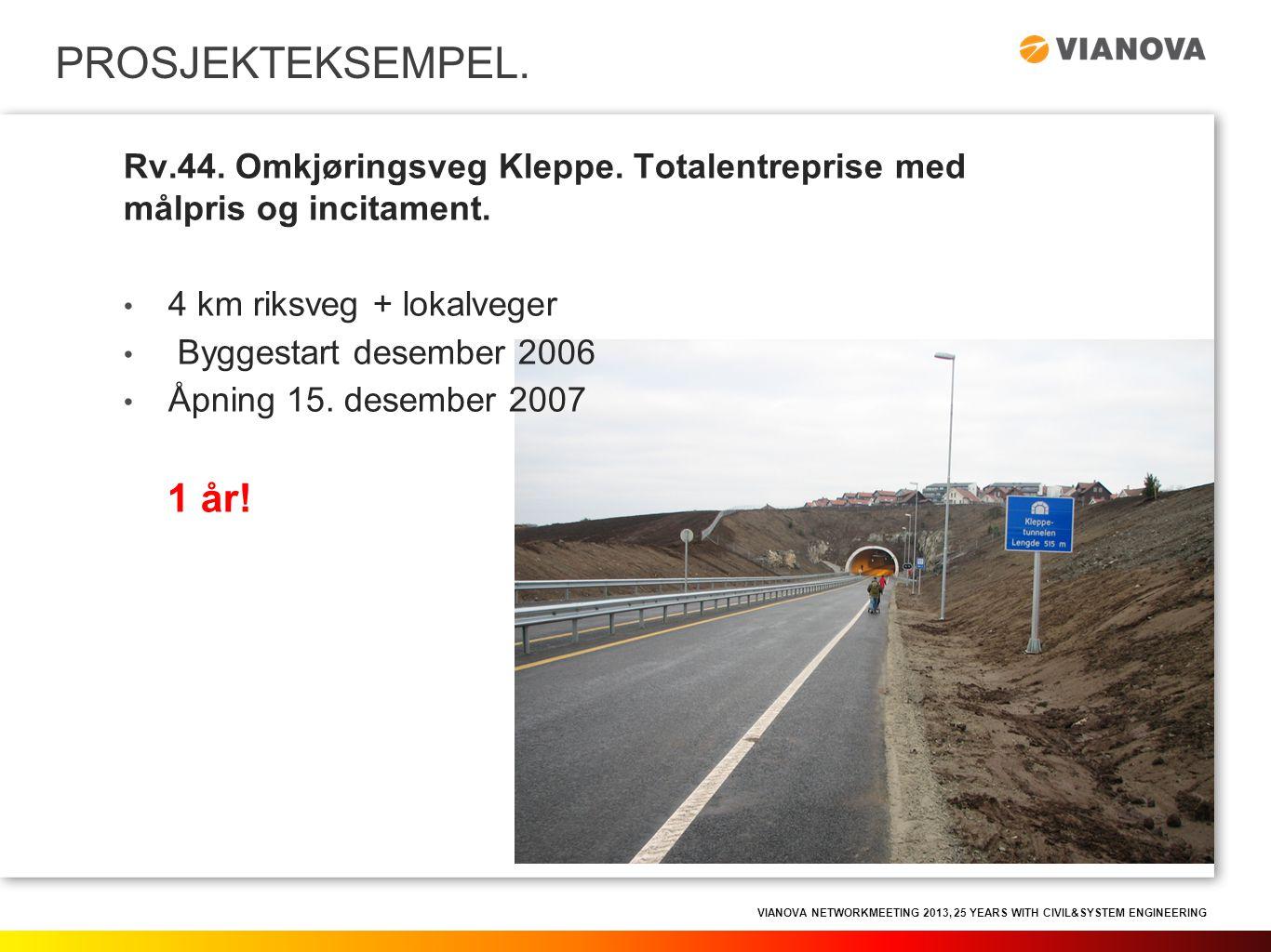 PROSJEKTEKSEMPEL. Rv.44. Omkjøringsveg Kleppe. Totalentreprise med målpris og incitament. 4 km riksveg + lokalveger.