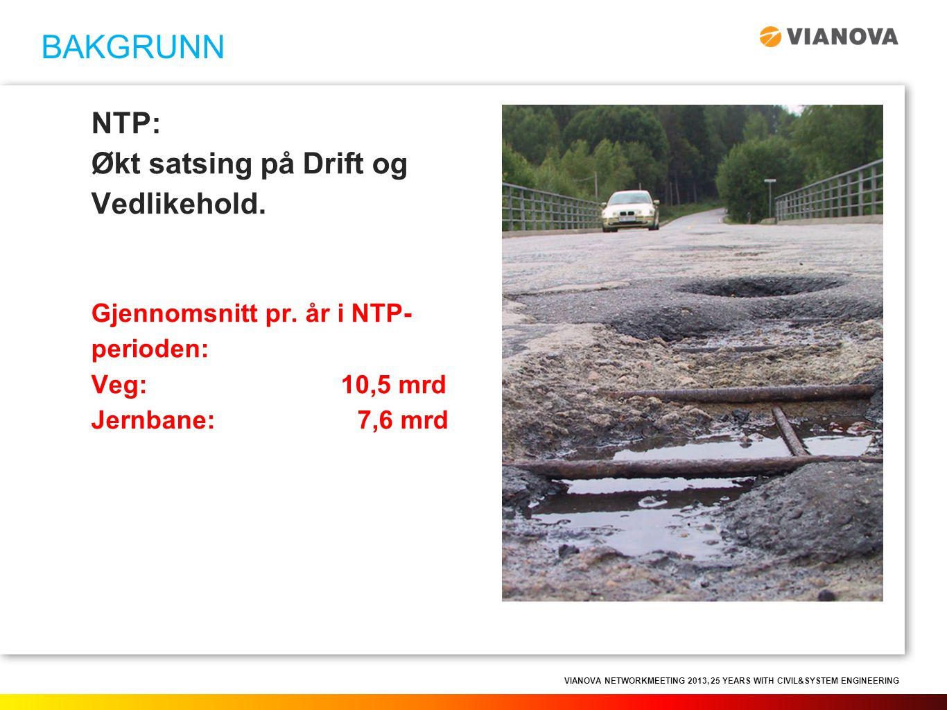 BAKGRUNN NTP: Økt satsing på Drift og Vedlikehold.