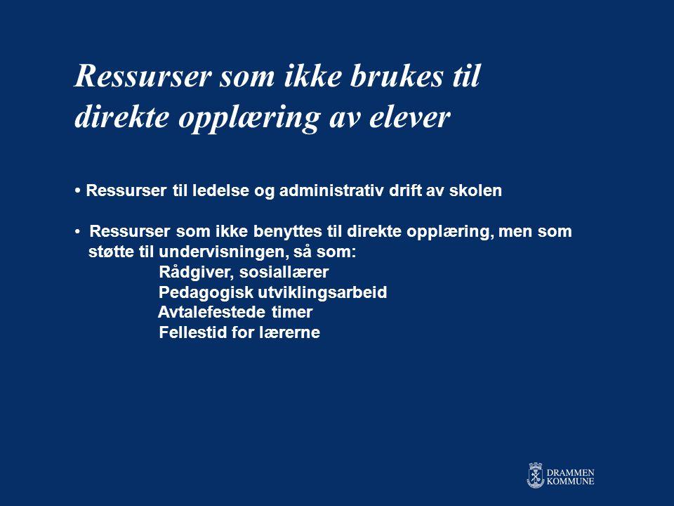 Ressurser som ikke brukes til direkte opplæring av elever