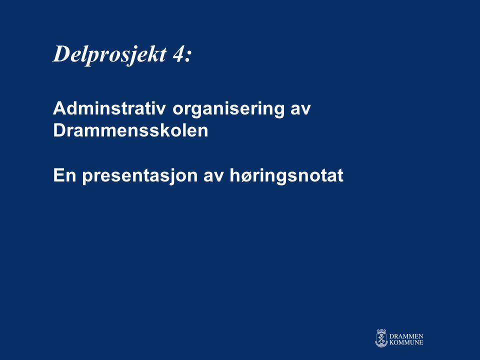 Delprosjekt 4: Adminstrativ organisering av Drammensskolen