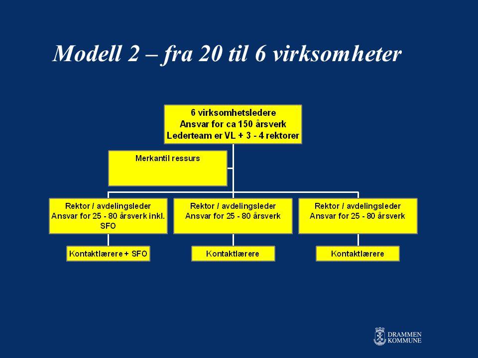 Modell 2 – fra 20 til 6 virksomheter