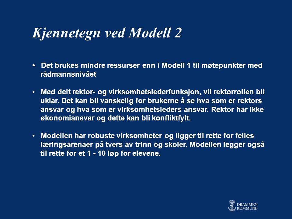 Kjennetegn ved Modell 2 Det brukes mindre ressurser enn i Modell 1 til møtepunkter med. rådmannsnivået.