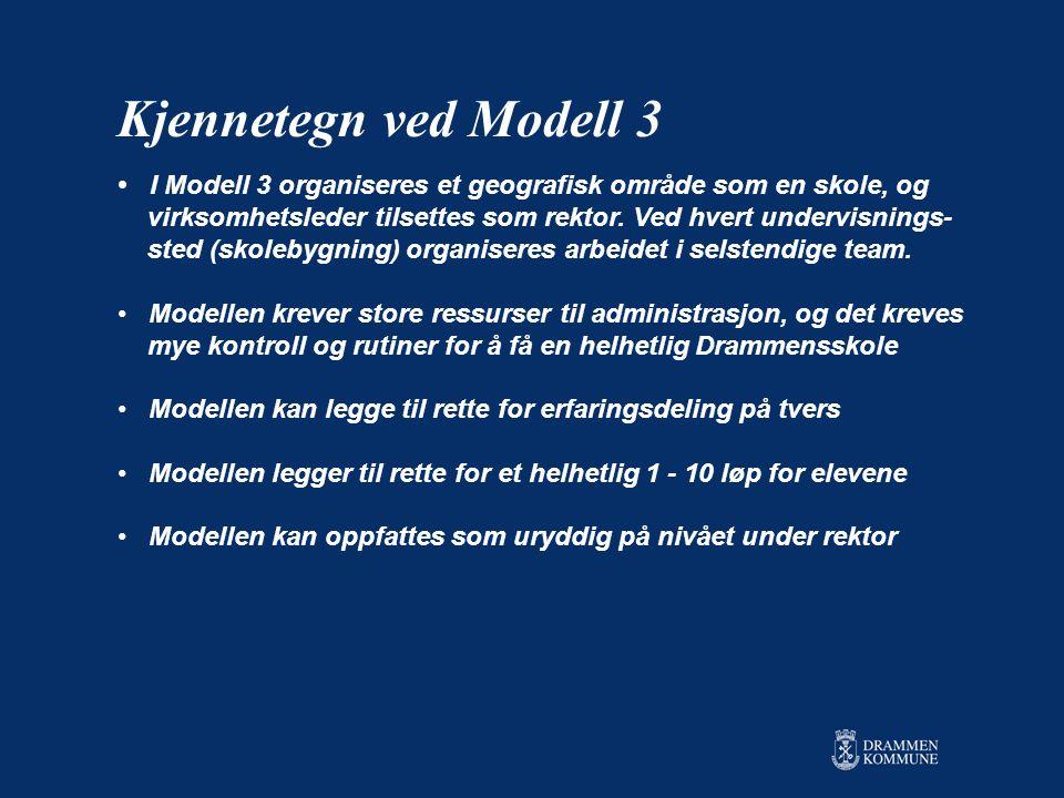 Kjennetegn ved Modell 3 I Modell 3 organiseres et geografisk område som en skole, og.