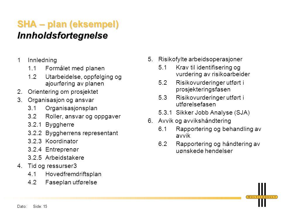 SHA – plan (eksempel) Innholdsfortegnelse
