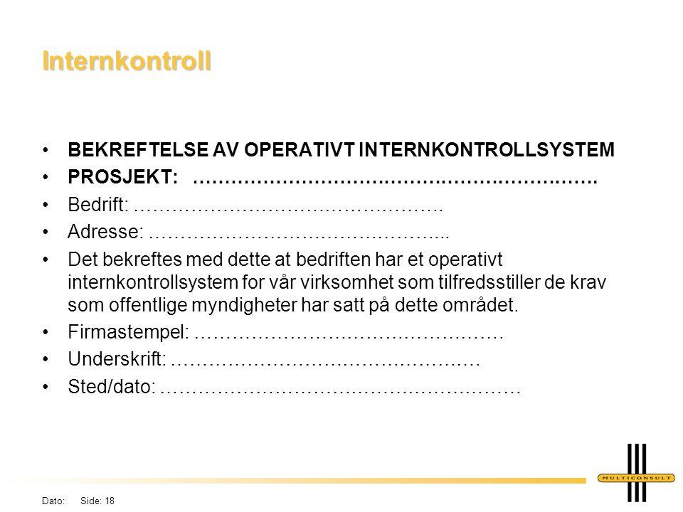 Internkontroll BEKREFTELSE AV OPERATIVT INTERNKONTROLLSYSTEM